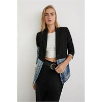 Desigual blazer slim ibrido in doppio materiale - black - 40