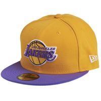 New Era nba league basic 59fifty los angeles lakers, snapback cap unisex-adulto, yellow purple, 7 3/8 (58.7 cm)