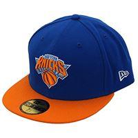 New Era nba league basic 59fifty york knicks, snapback cap uomo, navy orange, 7 (55.8 cm)