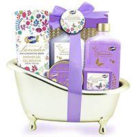 Gloss! bath bath - gold - lilies e fresia - 8 pezzi - scatola regalo, regalo per le donne