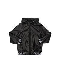 BALMAIN giacca in ecopelle con cappuccio