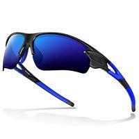 Bea Cool occhiali da sole sportivi polarizzati tac per uomo donna baseball giovanile motocicletta militare (blu brillante)