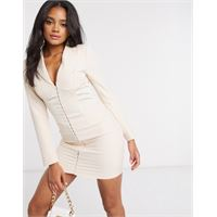 Lavish Alice - vestito corto a corsetto stile blazer in raso color champagne-marrone