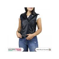 Leather Trend Italy gilet chiodo - giacca donna in vera pelle con cintura colore nero