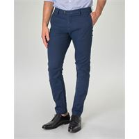 Ashki.i pantalone chino blu indaco in tessuto puntaspillo stretch