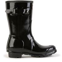 Hunter bambino - stivali bassi in gomma verniciata - original short gloss black - bambina - 36 - nero