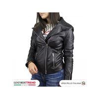 Leather Trend Italy alba - giacca donna in vera morbida pelle color nero
