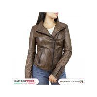 Leather Trend Italy alba - giacca donna in vera pelle colore testa di moro tamponato