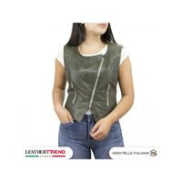 Leather Trend Italy gilet elena - giacca donna in vera pelle traforata colore verde