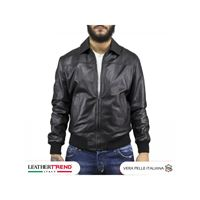 Leather Trend Italy fonzie - bomber uomo in vera pelle colore nero morbida