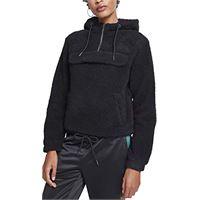 Urban Classics ladies sherpa pull over hoodie cappuccio, nero (black 00007), x-large donna