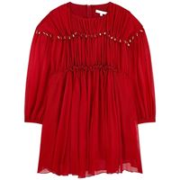 Chloé bambini - bambina - silk crepe vestito rosso - 4 anni - rosso