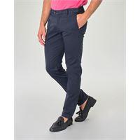 Ashki.i pantalone chino blu in tricotina di cotone stretch