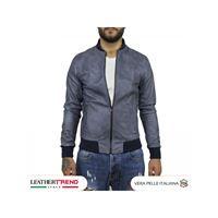 Leather Trend Italy david - bomber uomo in vera pelle colore blu invecchiato