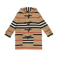 Burberry Kids cappotto a righe in lana vergine