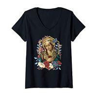 Happy Catholics donna madonna addolorata seven dolours piety mater dolorosa gift maglietta con collo a v