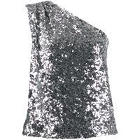 Halpern top con spalle scoperte - effetto metallizzato