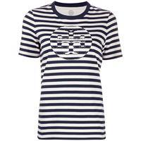 Tory Burch t-shirt a righe con logo - blu