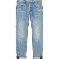 Gucci jeans affusolati con dettaglio web - blu
