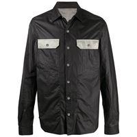 Rick Owens - giacca-camicia leggera - men - cotone/poliuretano/cupro/viscosa - 48, 50, 52 - di colore nero