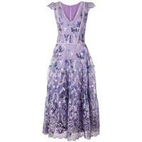Marchesa Notte vestito svasato a fiori - viola