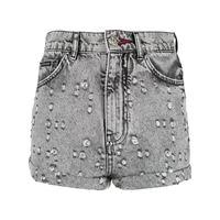 Philipp Plein shorts denim con borchie - nero