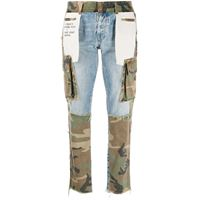 UNRAVEL PROJECT jeans con stampa camouflage - blu