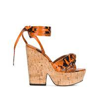 Paris Texas sandali con stampa serpente - arancione