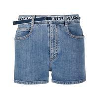 Stella McCartney shorts denim con logo - blu