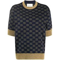 Gucci top con motivo interlocking g jacquard - blu