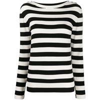 TWINSET maglione a righe con bottoni di strass - bianco