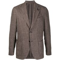 Lardini blazer monopetto in tweed - marrone