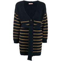 TWINSET cardigan a righe lamé - blu
