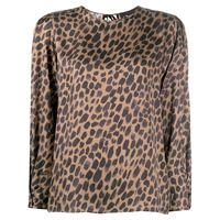 8pm blusa con stampa leopardata - marrone