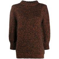 ANINE BING maglione con maniche a 3/4 - marrone