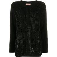 TWINSET maglione con strass - nero