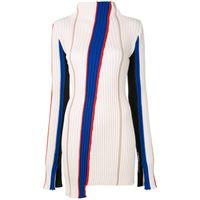 AMBUSH maglione a righe asimmetrico - bianco