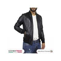 Leather Trend Italy david - bomber uomo in vera pelle colore nero morbida