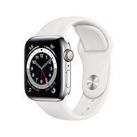 Apple novità Apple watch series 6 (gps + cellular, 40 mm) cassa in acciaio inossidabile color argento con cinturino sport bianco