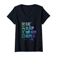 Hip hop Dancing Gifts 4U donna hip hop dancing eat sleep repeat watercolor gift maglietta con collo a v