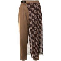 Kolor pantaloni crop con stampa - marrone
