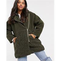 French Connection - cappotto teddy oversize in pelliccia ecologica con zip intera colore verde