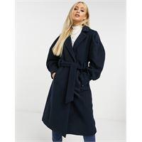 Y.A.S - cappotto sartoriale in lana allacciato in vita blu navy