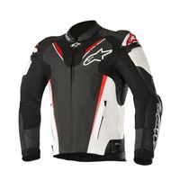 ALPINESTARS atem v3 leather jacket - (black/white/red fluo)
