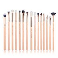 Jessup set di pennelli per trucco occhi 15 pz sopracciglia pennelli per il trucco professionale di bellezza rosa/oro rosa t447