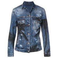 Philipp Plein giacca denim effetto vissuto - blu