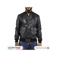 Leather Trend Italy u03 bis - giacca uomo in vera pelle colore nero morbida