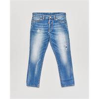 Dsquared2 jeans carrot-fit lavaggio chiaro stone washed con abrasioni 10-16 anni