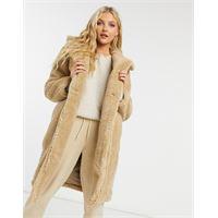 New Look - cappotto teddy lungo in pile borg color pietra-cuoio