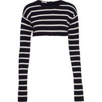 Miu Miu maglione a righe crop - blu